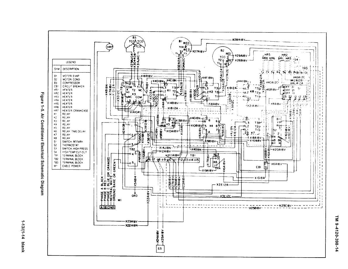 TM 9 4120 398 140022im figure 1 5 air conditioner electrical schematic diagram Electrical Wiring Diagrams For Dummies at eliteediting.co